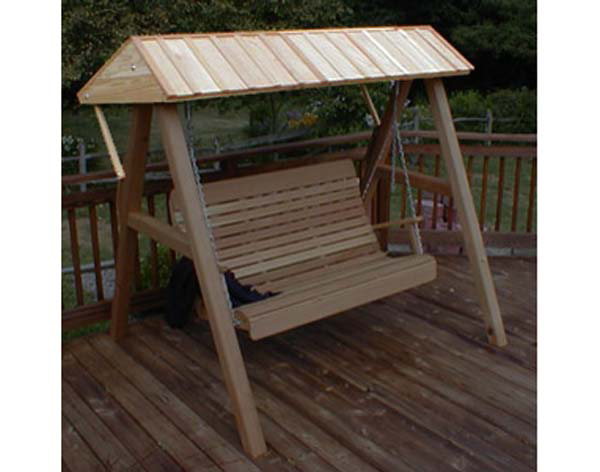 Red Cedar Wooden Porch Swing Canopy for 4' and 5' Swing