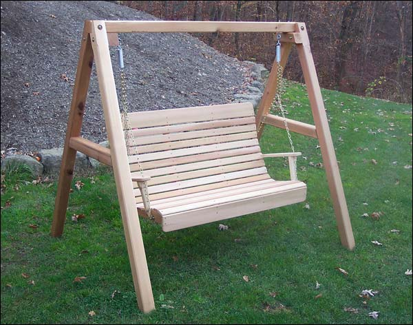 4 Foot Red Cedar Royal Highback Porch Swing with Stand