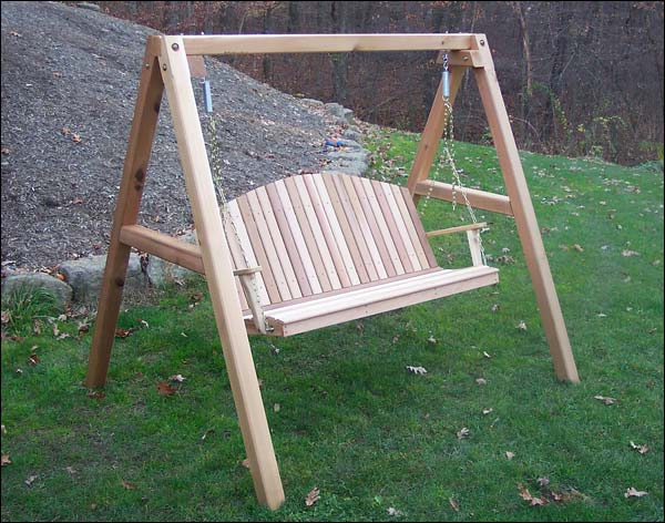4 Foot Red Cedar Blue Mountain Fanback Porch Swing with Stand
