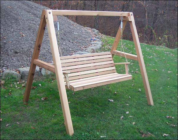 4 Foot Red Cedar American Classic Porch Swing with Stand