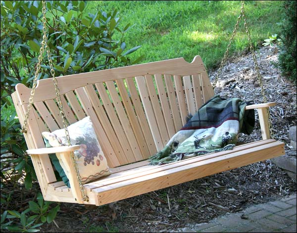 4' Red Cedar Classic Fanback Porch Swing