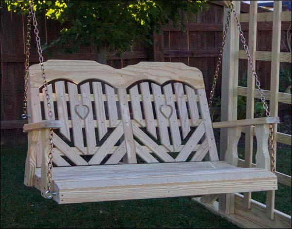 "53"" Treated Pine Heartback Porch Swing"