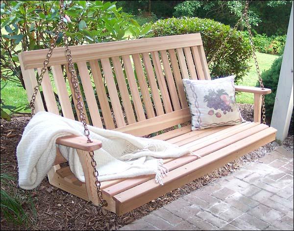 4' Red Cedar English Garden Porch Swing