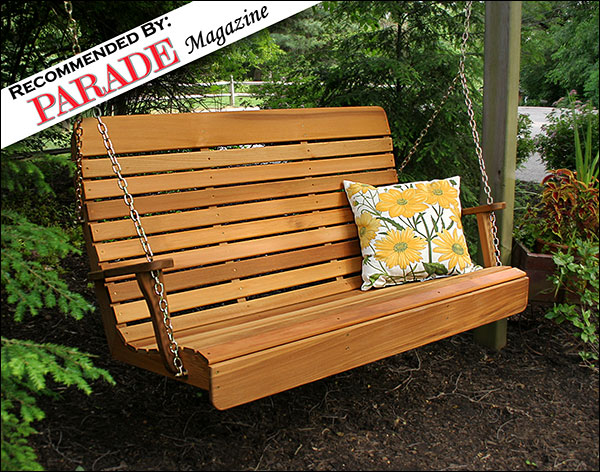 4 Foot Red Cedar Royal Highback Porch Swing with Stain