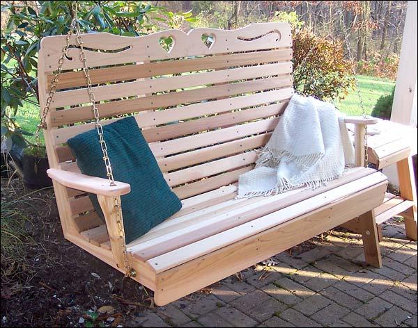 4 Foot Red Cedar Royal Sweetheart Highback Porch Swing