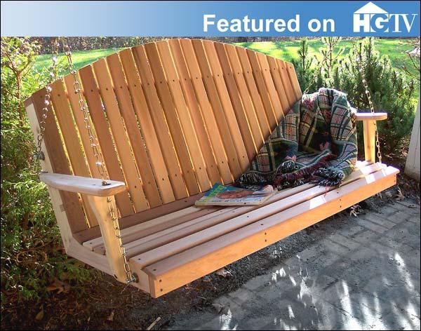 4 Foot Red Cedar Blue Mountain Fanback Porch Swing
