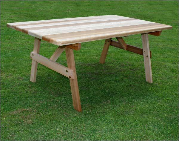 "46"" x 42"" Red Cedar Picnic Table w/Traditional Legs"