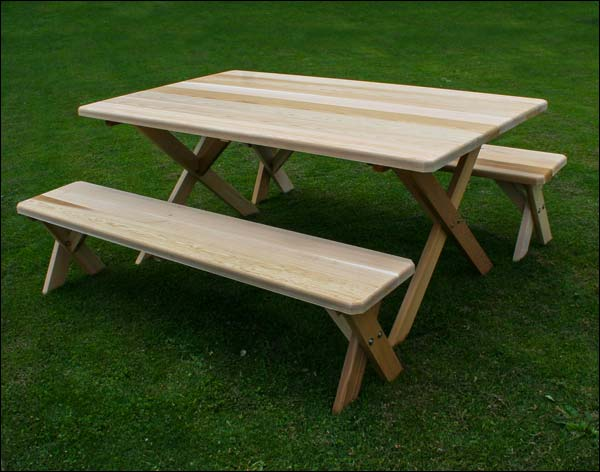 """46"""" x 42"""" Red Cedar Cross Legged Picnic Table with (2) 46"""" Benches"""