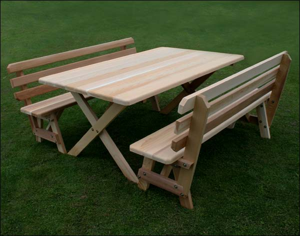 """42"""" x 46"""" Red Cedar Cross Legged Picnic Table with (2) 46"""" Backed Benches"""