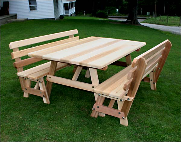 """46"""" x 42"""" Red Cedar Traditional Picnic Table with (2) 46"""" Backed Benches"""