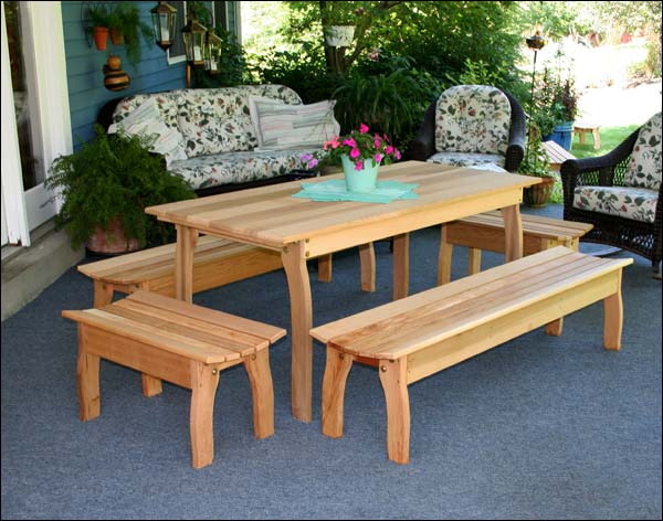 """46""""L x 32""""W Red Cedar Contoured Picnic Table with (2) 46""""L Benches & (2) 32""""L Benches"""