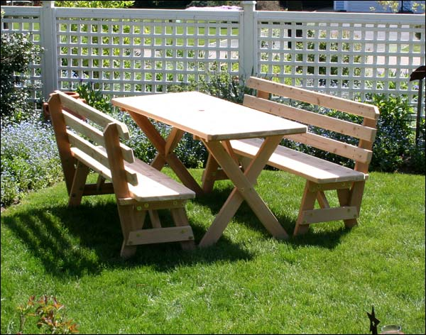 """Red Cedar 32"""" x 10' Cross Legged Picnic Table with (4) 5' Backed Benches"""