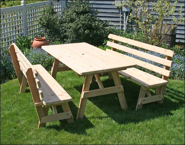 "Red Cedar 27"" x 4' Picnic Table with (2) 4' Backed Benches"