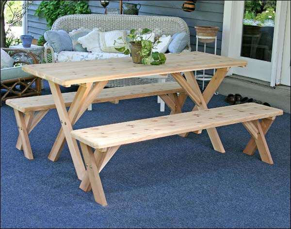 "Red Cedar 32"" x x 4' Cross Legged Picnic Table with (2) 4' Cross Legged Benches"