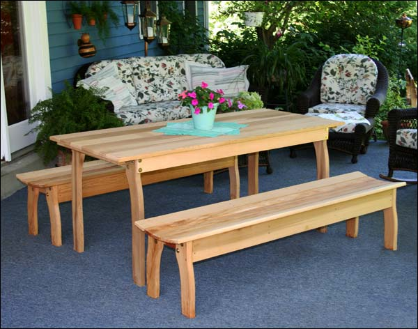 """46"""" x 32"""" Red Cedar Contoured Picnic Table with (2) 46"""" Benches"""