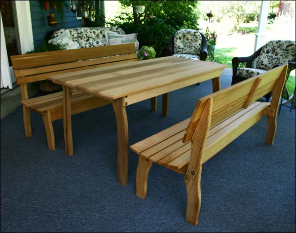 """46"""" x 32"""" Red Cedar Contoured Picnic Table with (2) 46"""" Backed Benches"""