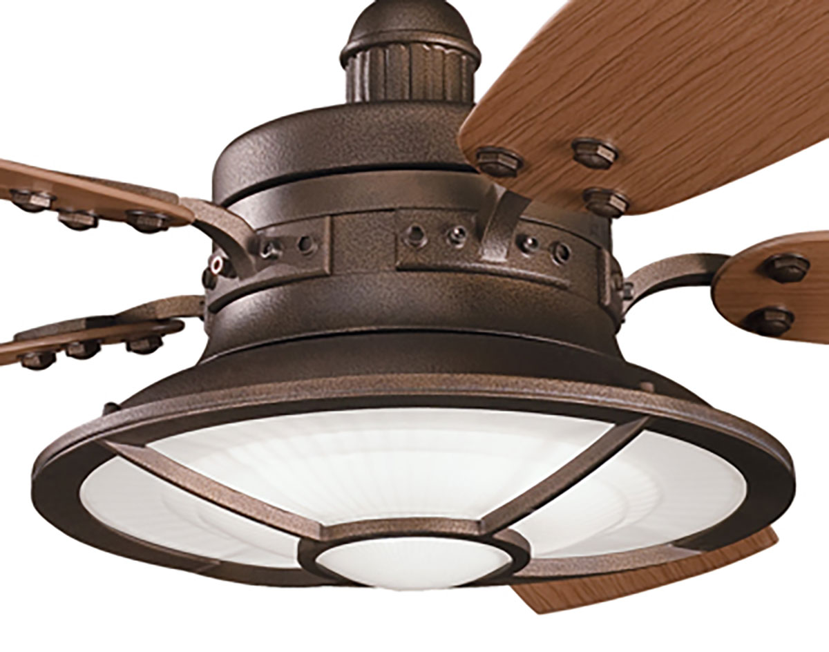 Weathered Copper Powder Coat Harbor Bay Patio Ceiling Fan - Patio ceiling fans