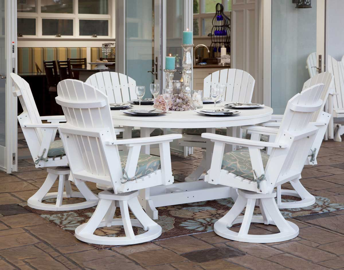 60 Poly Lumber Garden Clic Dining Table And Chair Set Shown In White