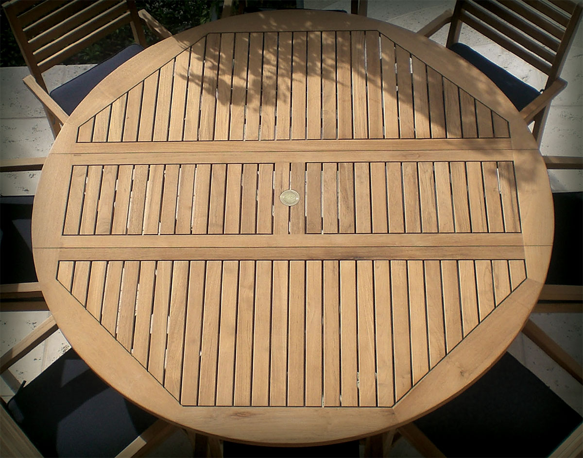 72 teak round table and slat back stack chair set for Round teak table top