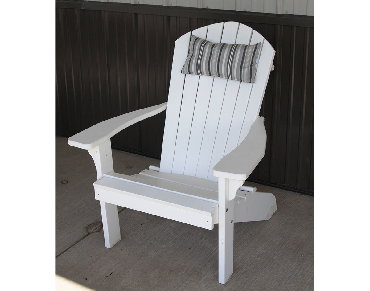 Acrylic adirondack chair head pillow shown in gray strip on a white adirondack chair