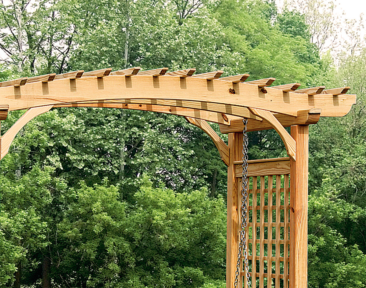 Close Up Of Top Of Treated Pine Greenfield Arbor And 5u0027English Garden Swing  Set Shown With Cedar Tone Stain