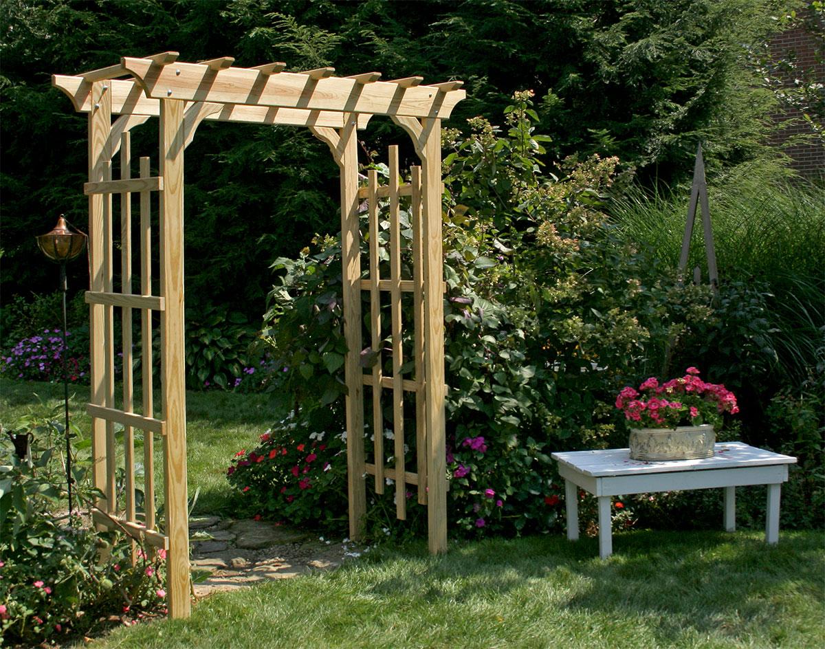 Treated pine rose arbor pergola for Garden arbors designs