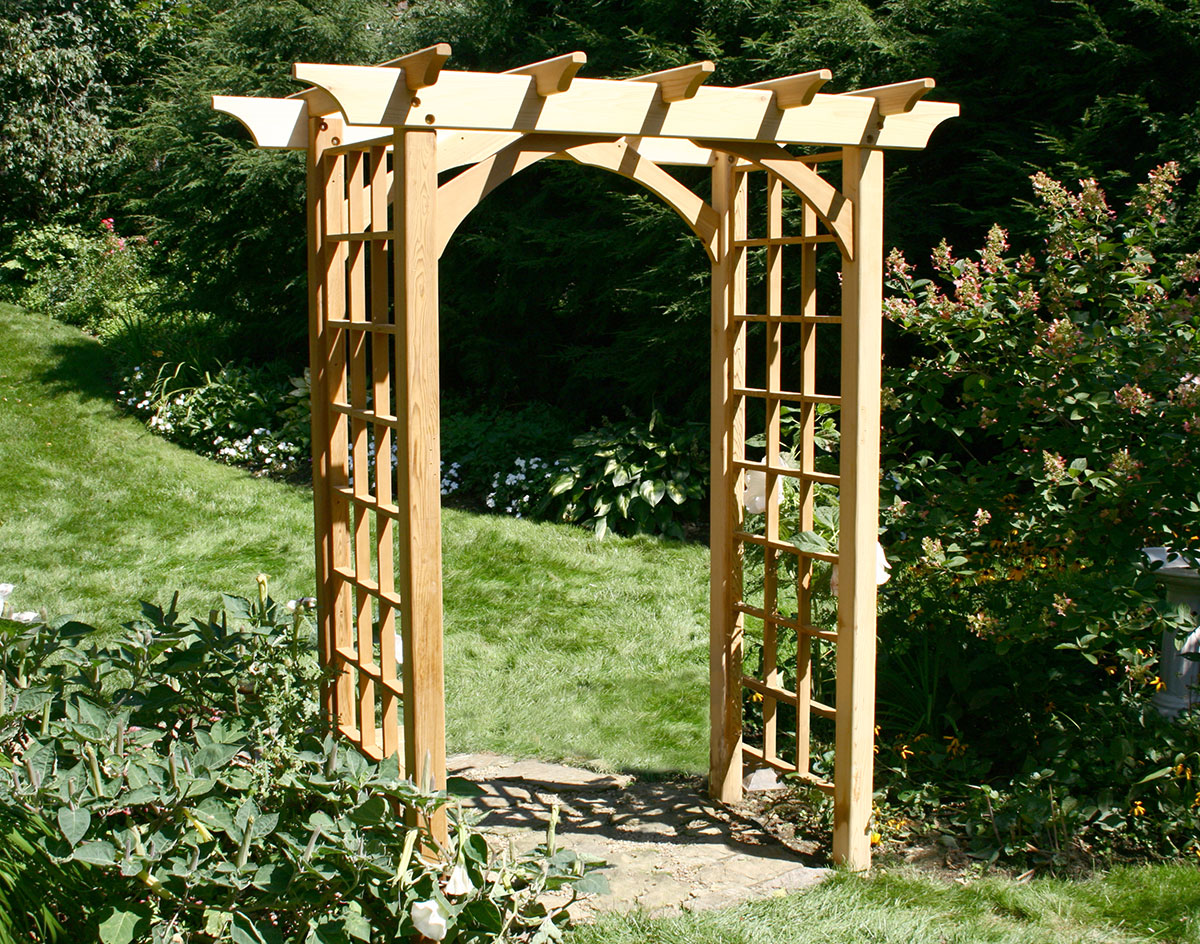 Red cedar canterbury arbor for Garden arches designs