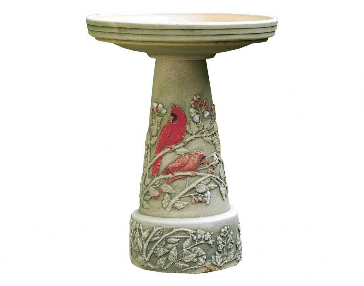 Ceramic Summer Cardinal Bird Bath