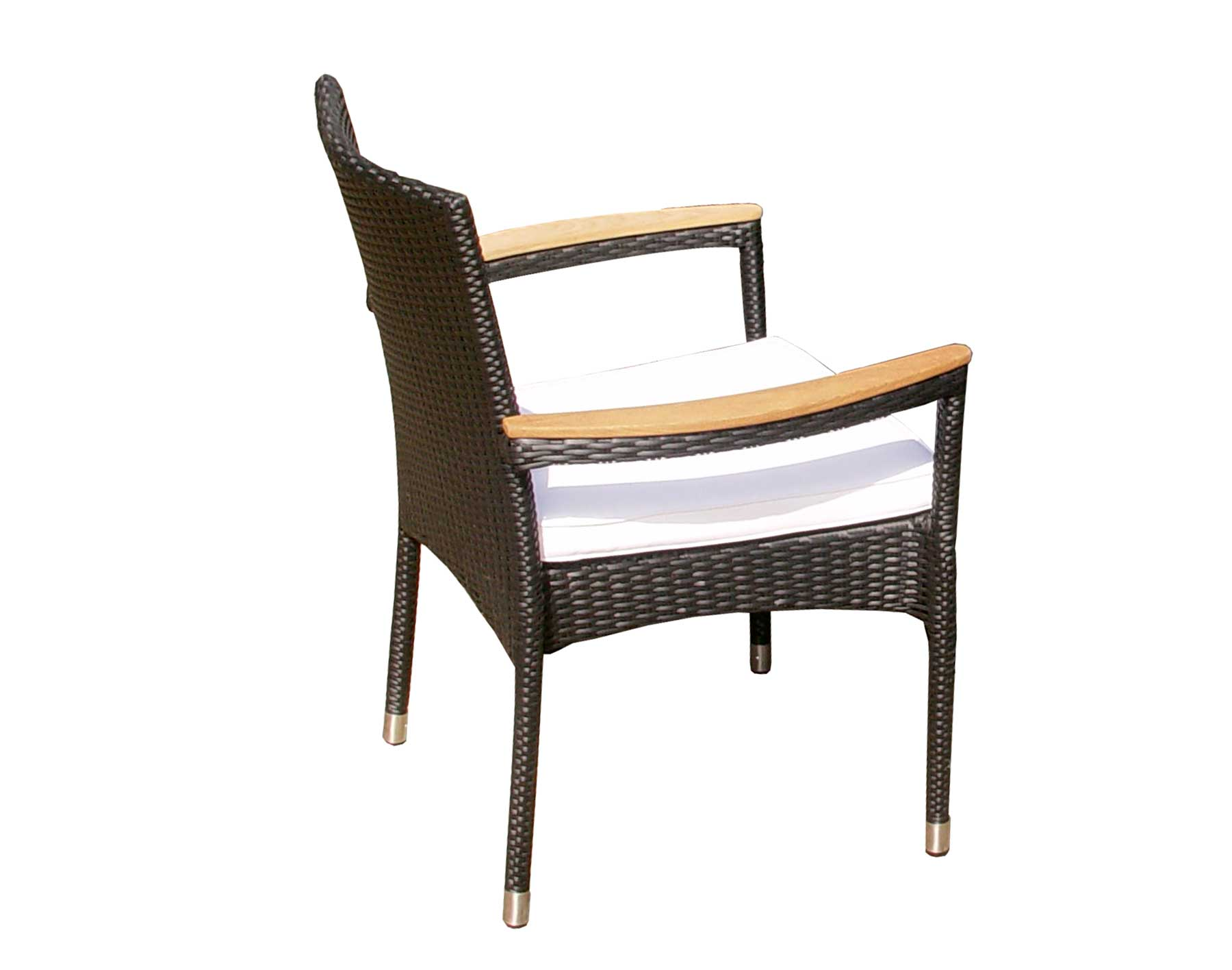 """48"""" Black Wicker Dining Table and Wicker Stacking Chair Set"""
