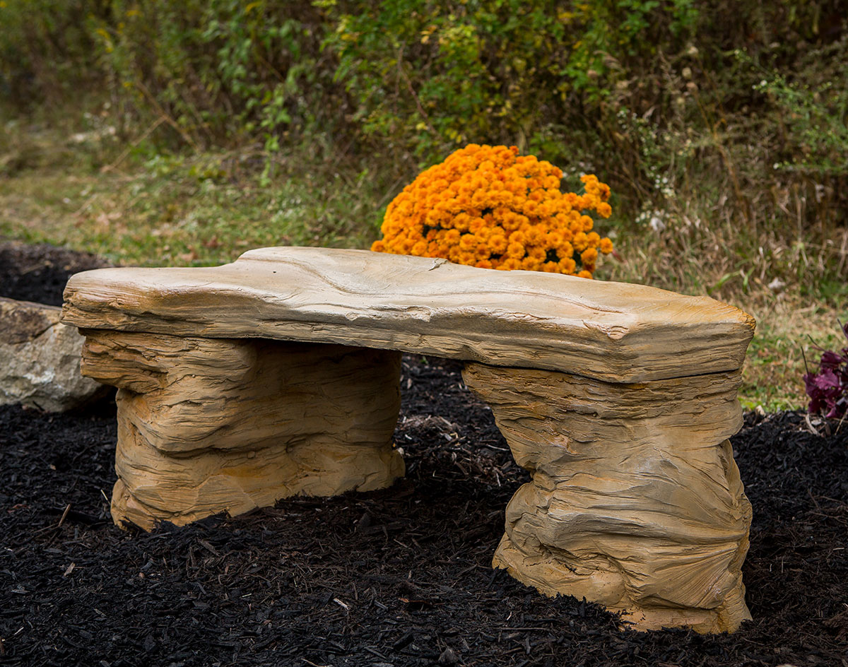 Concrete Rock Garden Bench