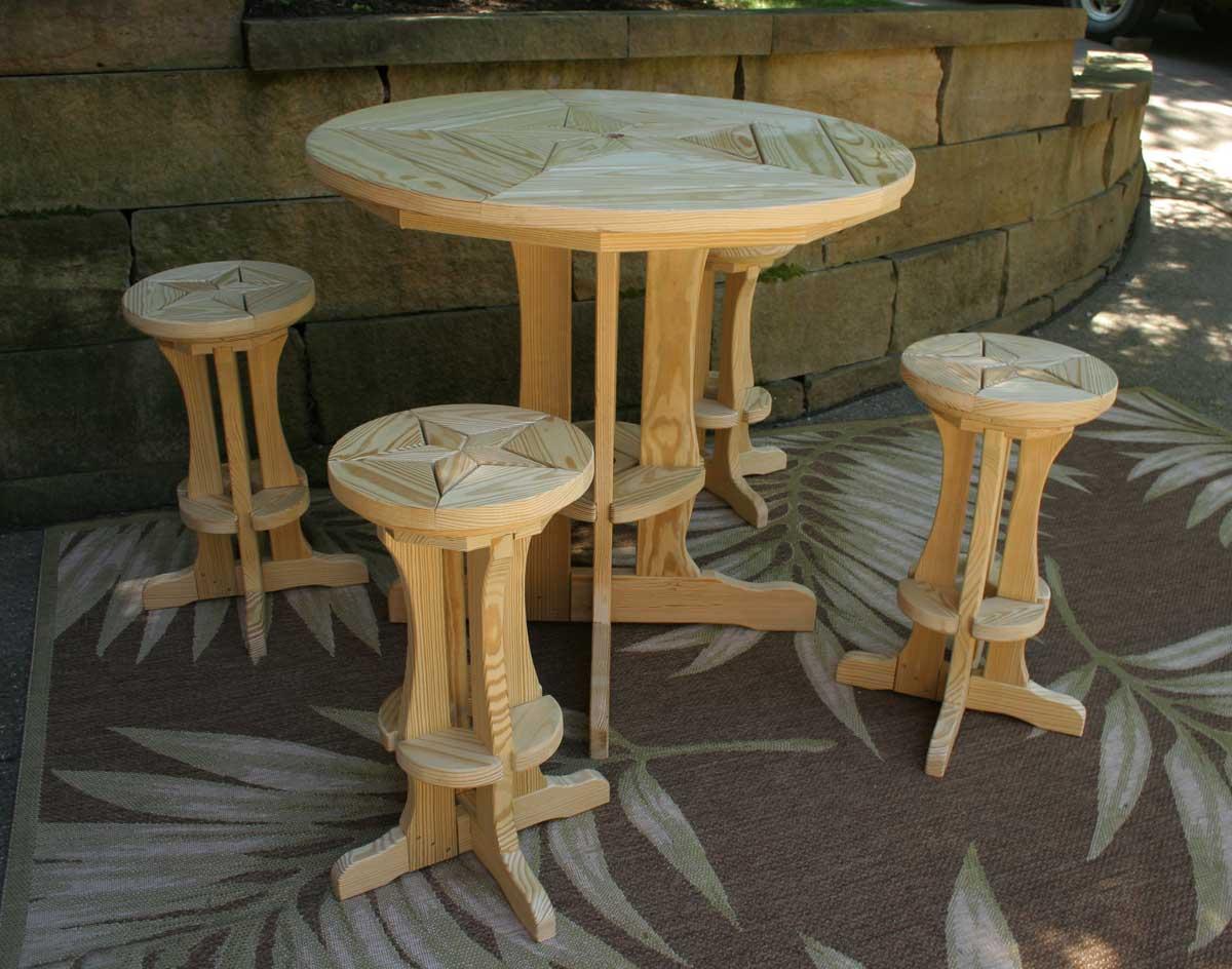 Treated Pine Star Design Pub Table W 4 Pub Stools