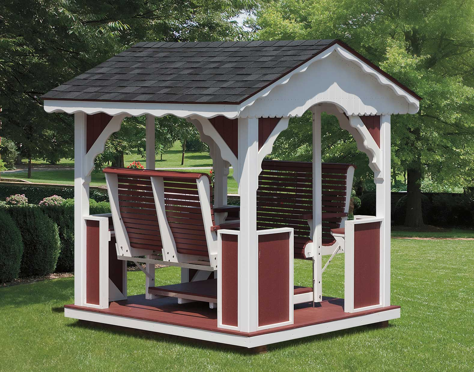Poly Lumber Outdoor Furniture Vinyl & Poly-Lumber Gable Gazebo Swing