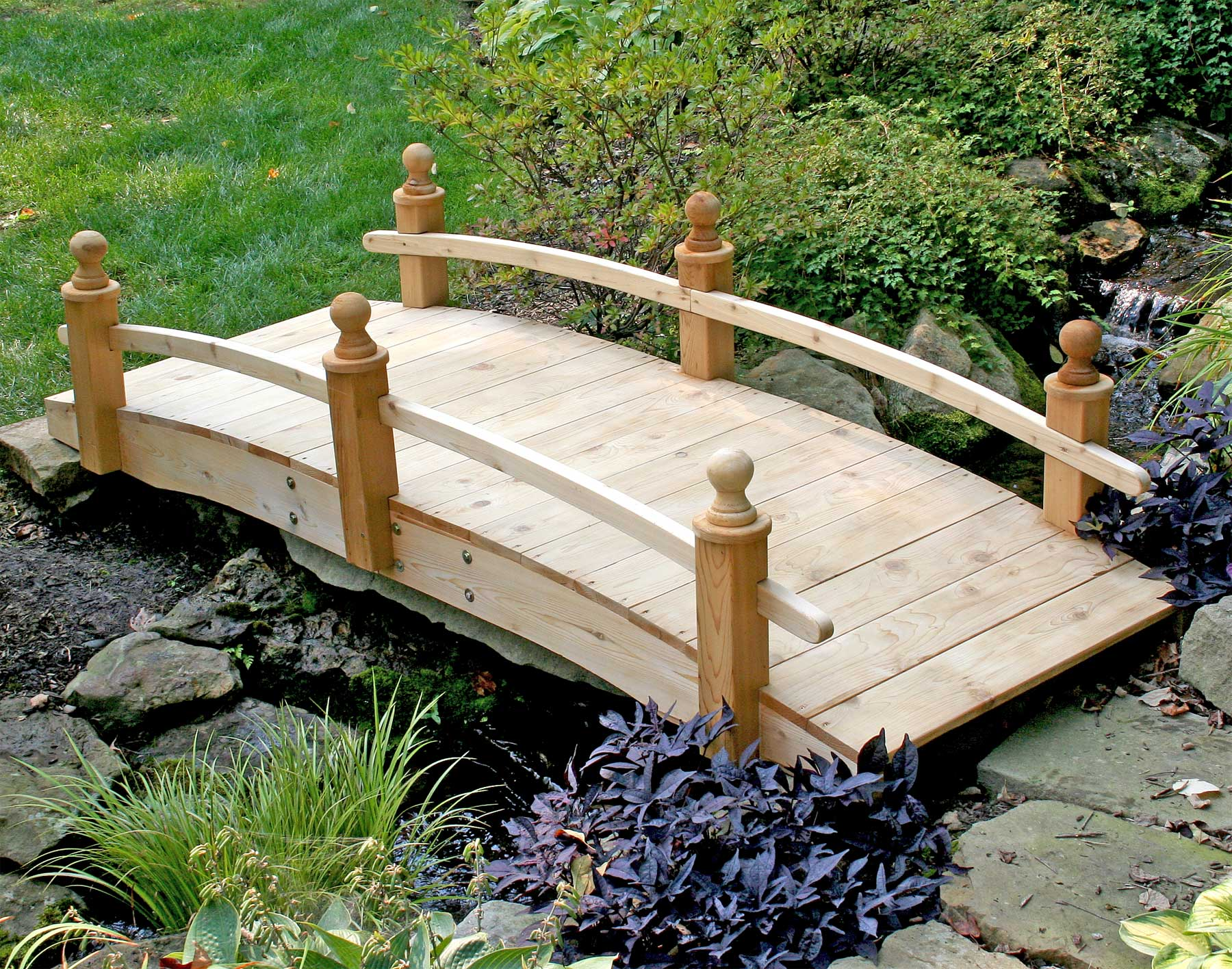 Red cedar starflower single rail bridge for Decorative fish pond bridge