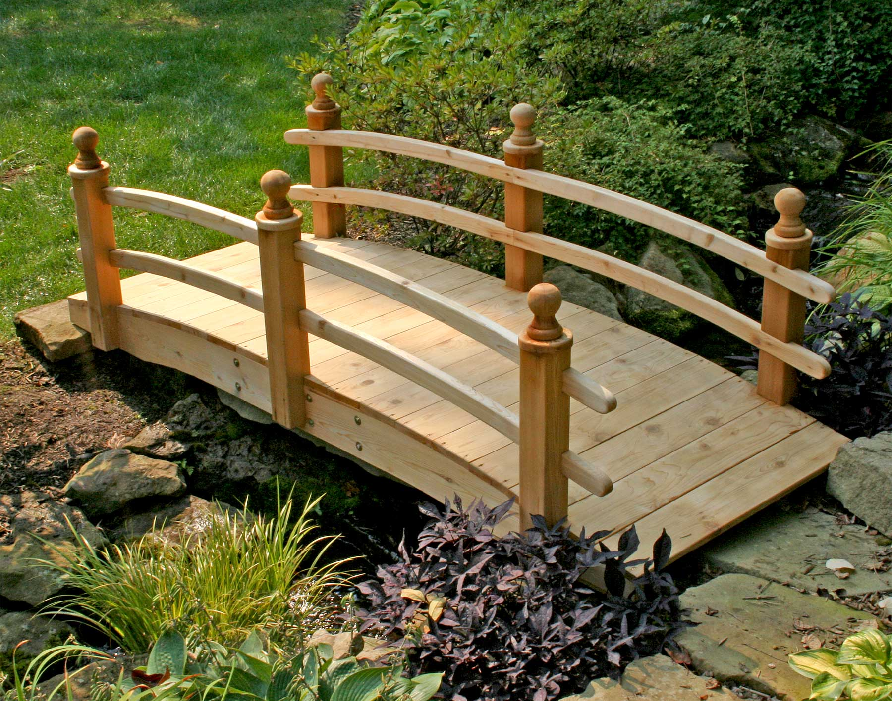 Red cedar camelot double rail bridge for Decorative fish pond bridge