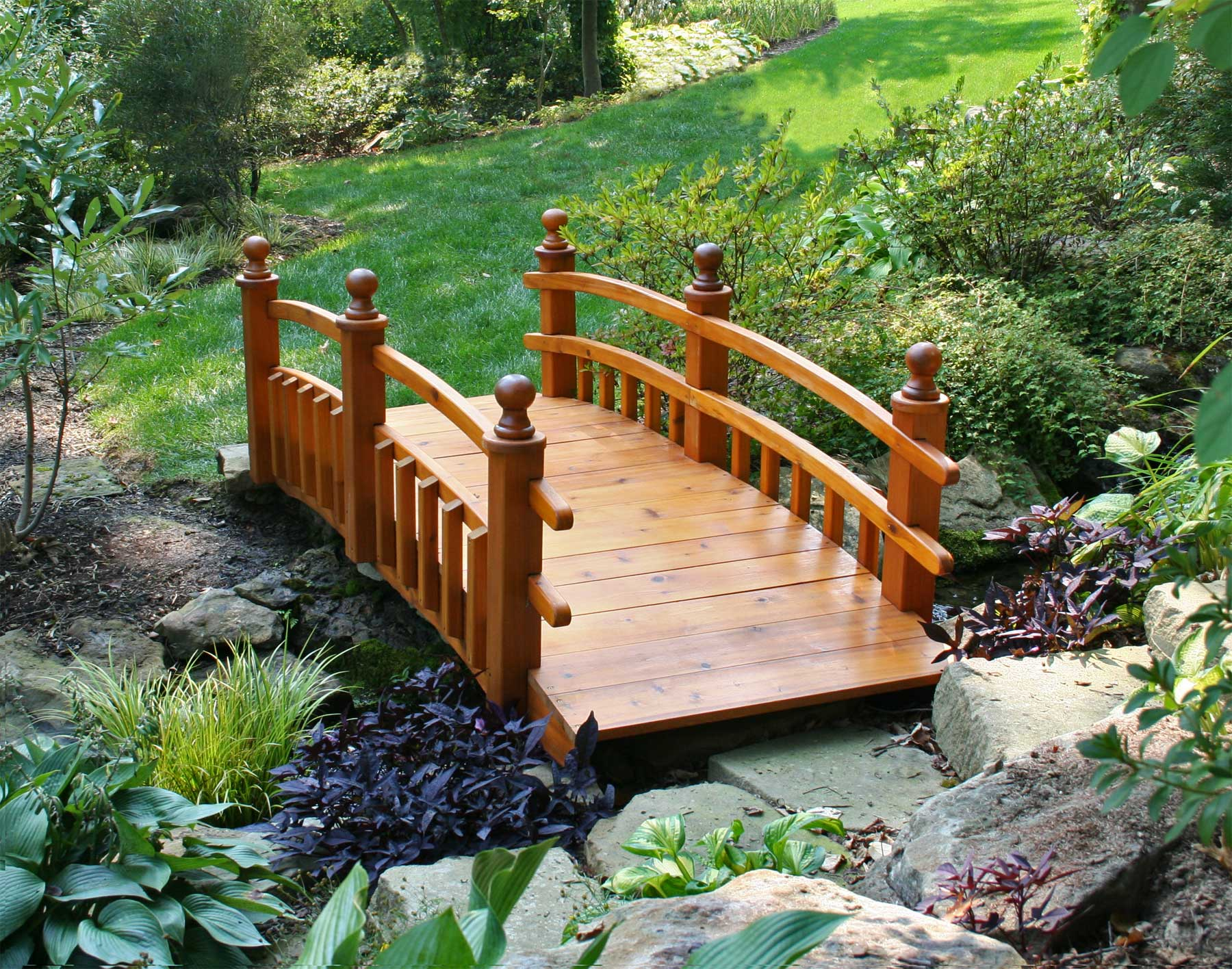 red cedar eden 12 picket rail bridge - Japanese Wooden Garden Bridge