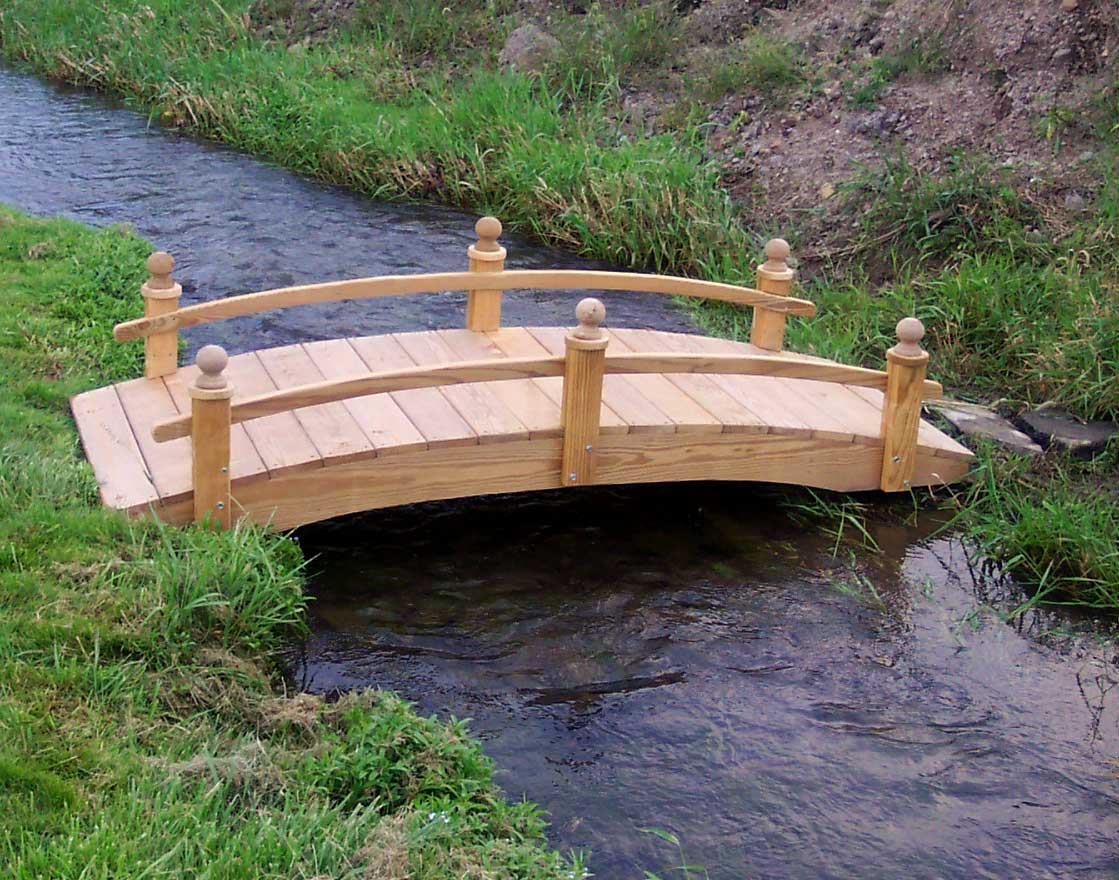 Treated Pine Amelia Single Rail Garden Bridge