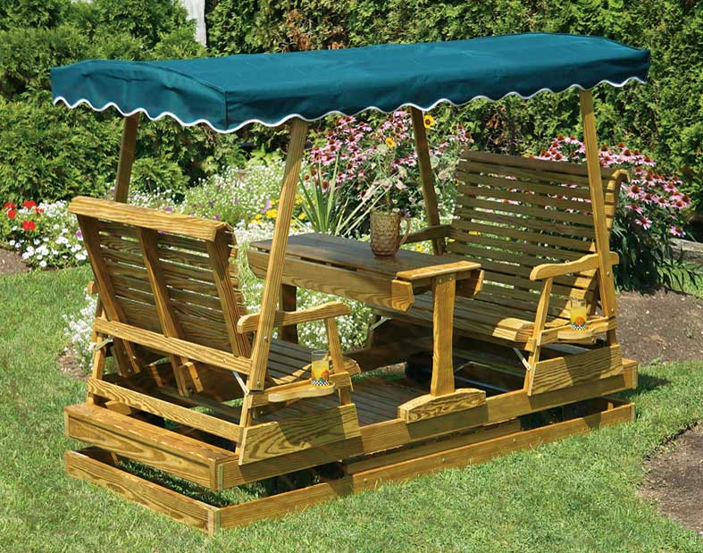 Wooden outdoor patio furniture 4 adirondack chairs for wooden outdoor - Treated Pine Mesa Glider