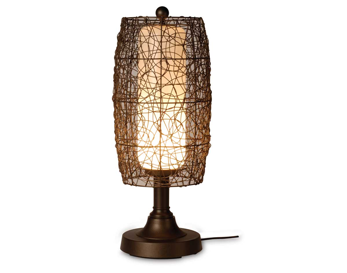 30 Quot Outdoor Wicker Barrel Resin Table Lamp