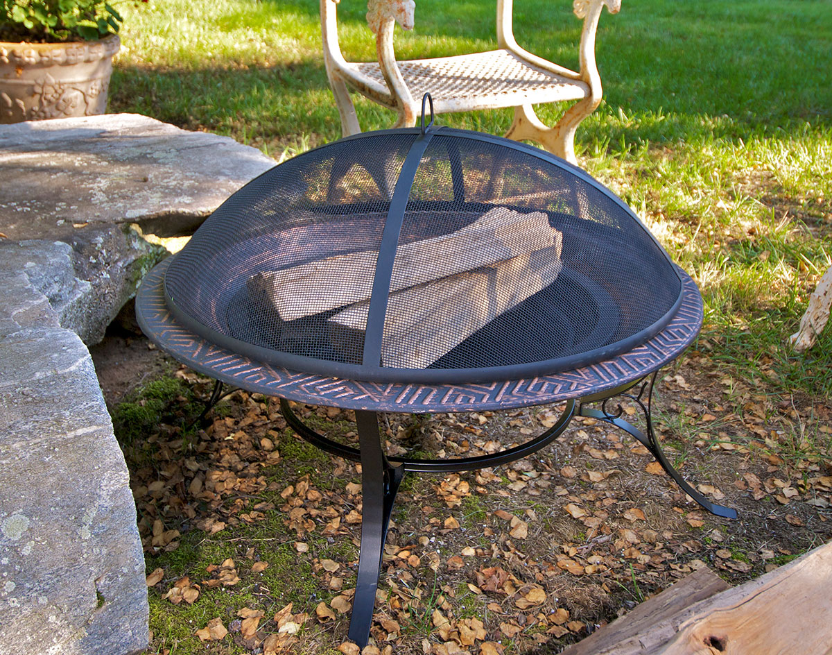 Mayan Design Fire Pit With Spark Screen