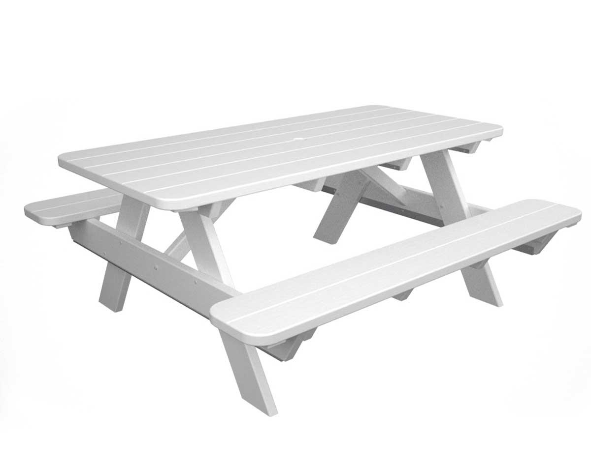 white picnic bench