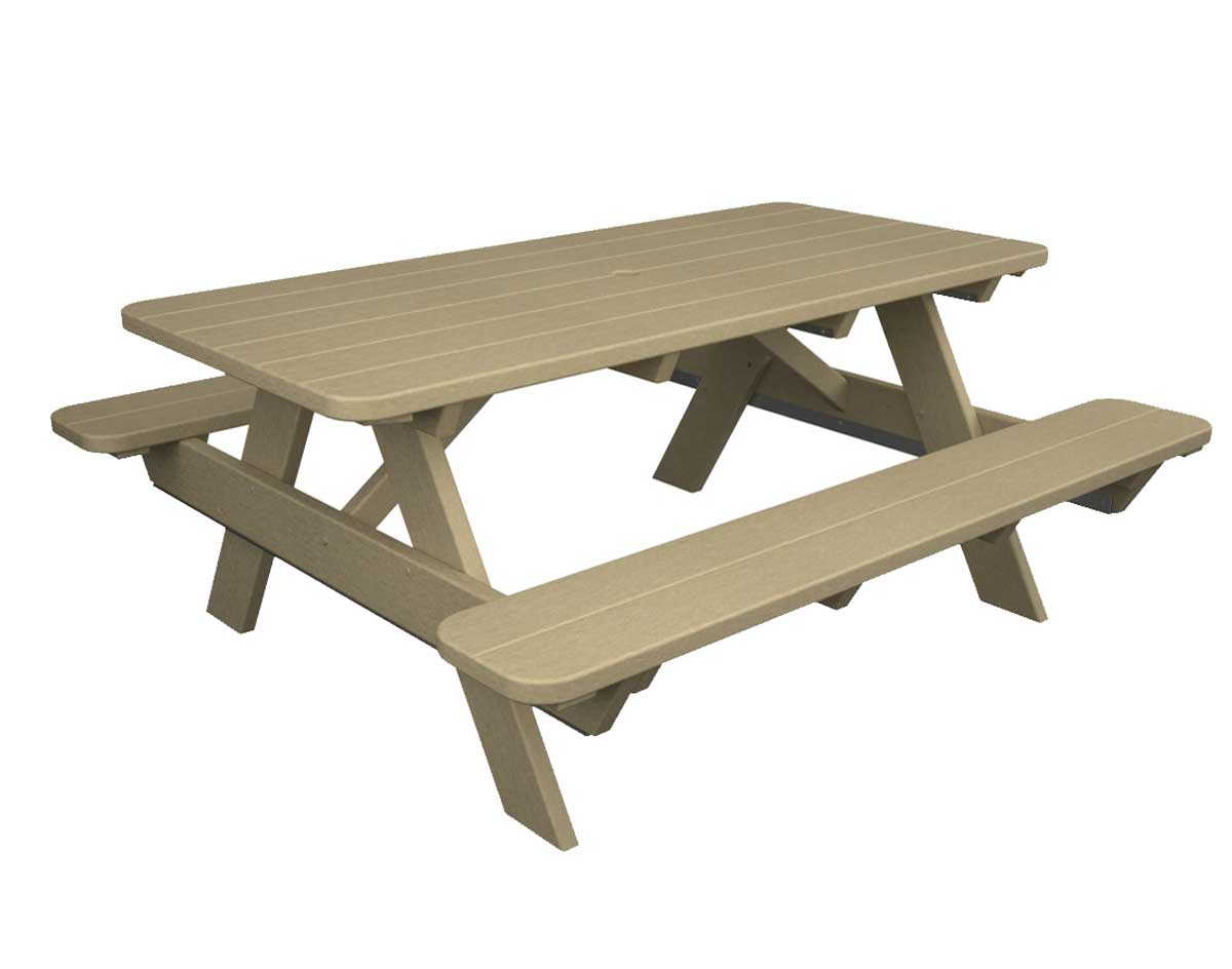 picnic table with attached benches a l furniture yellow pine