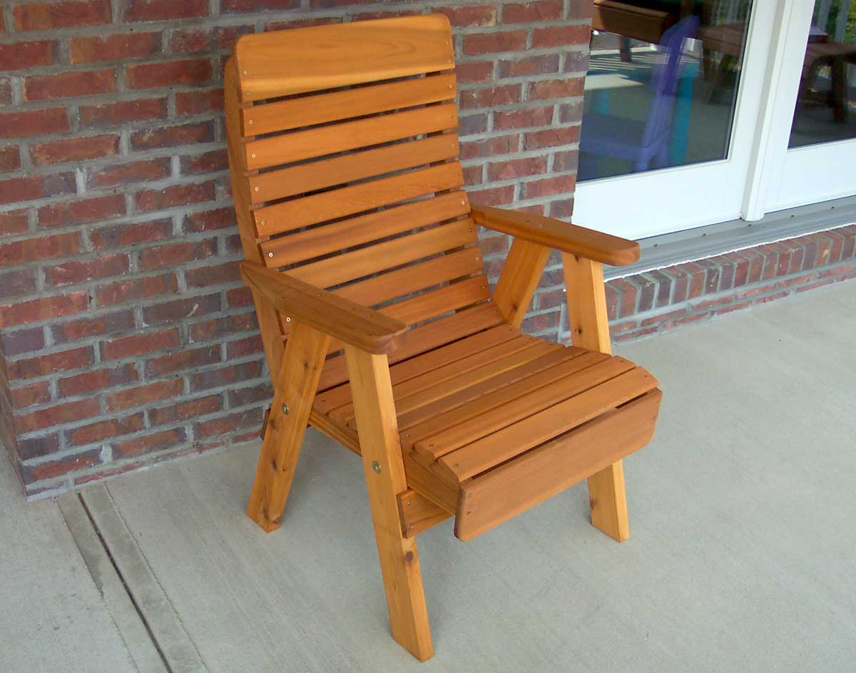 Attirant Red Cedar Royal Highback Patio Chair Shown With Cedar Tone Stain/Sealer