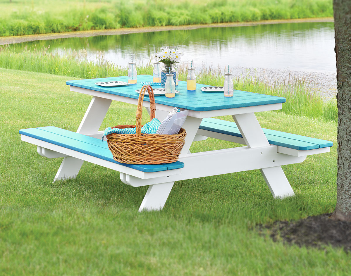 Brilliant Poly Lumber Rectangular Picnic Table W Attached Benches Ibusinesslaw Wood Chair Design Ideas Ibusinesslaworg
