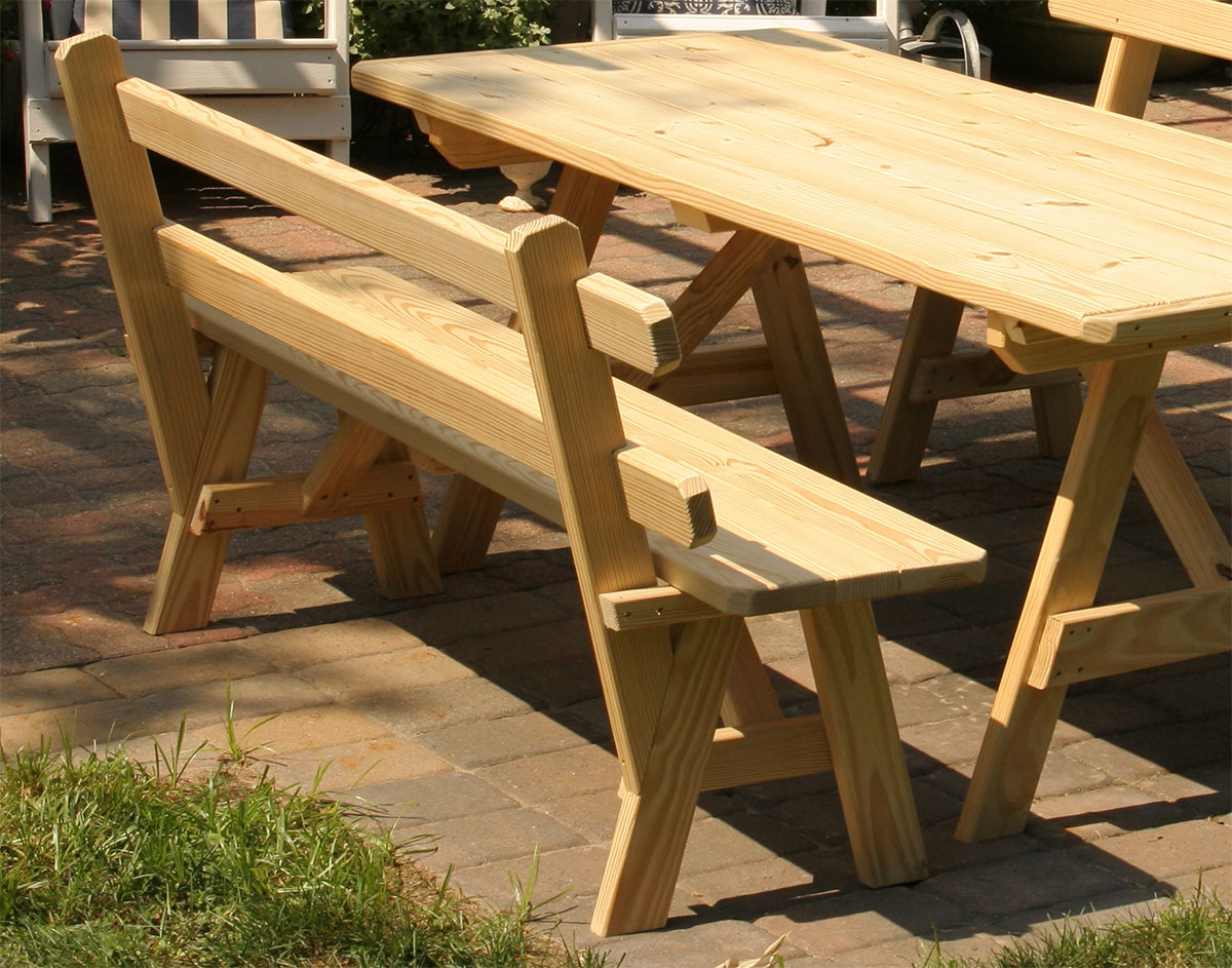 bench wood with fence cape cod category attached table tables product outdoor furniture benches company picnic