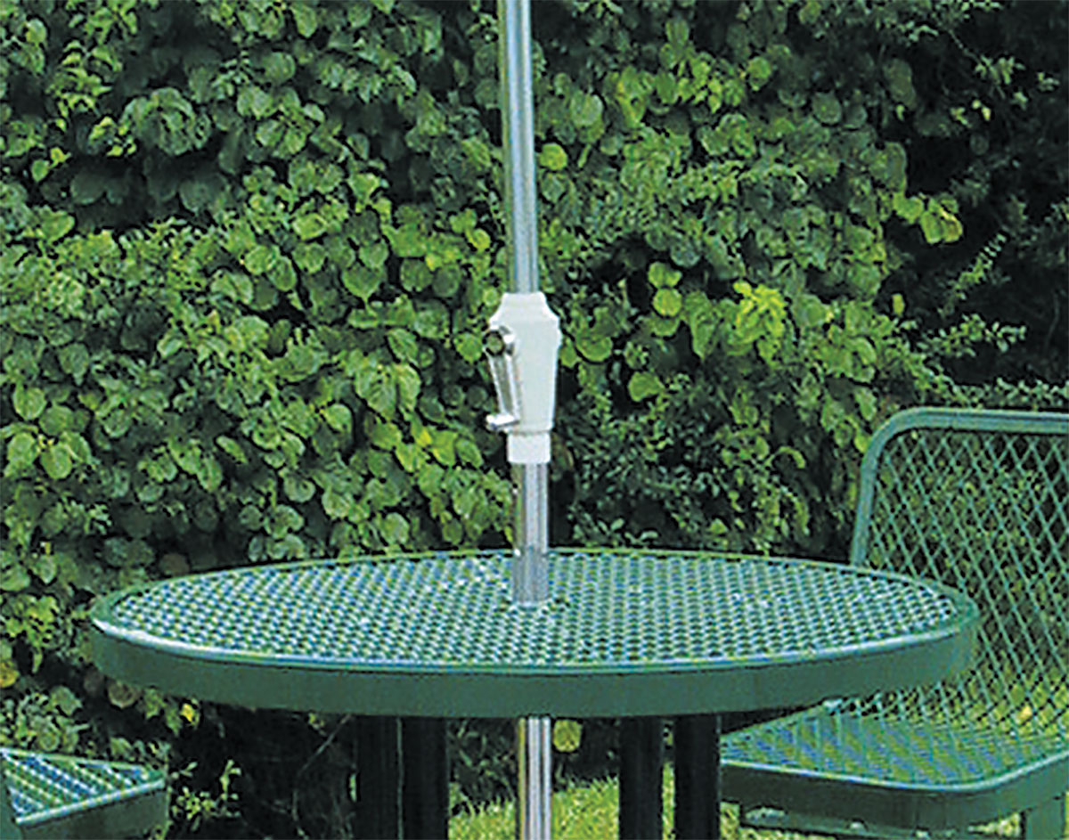 Round Metal Picnic Table W Attached Chairs - Metal base picnic table