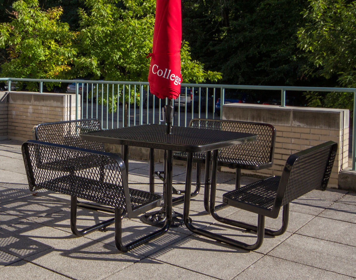 Square Expanded Metal Picnic Table WBacked Benches - Square metal picnic table
