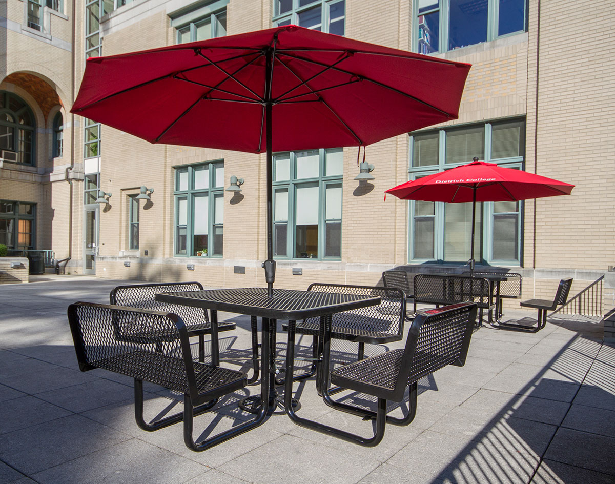 Square Expanded Metal Picnic Table WBacked Benches - Metal picnic table with umbrella