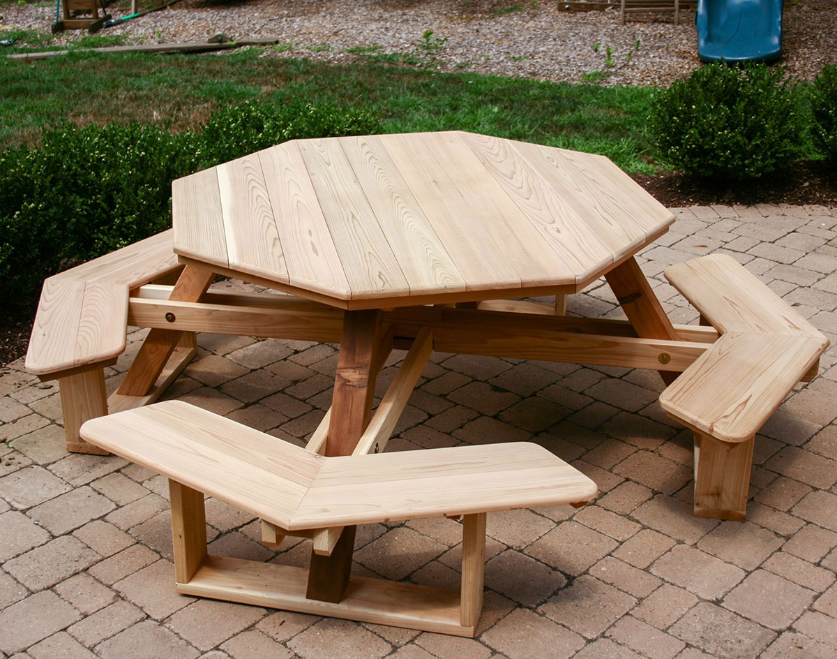 Red Cedar Octagon WalkIn Picnic Table - Long picnic table for sale