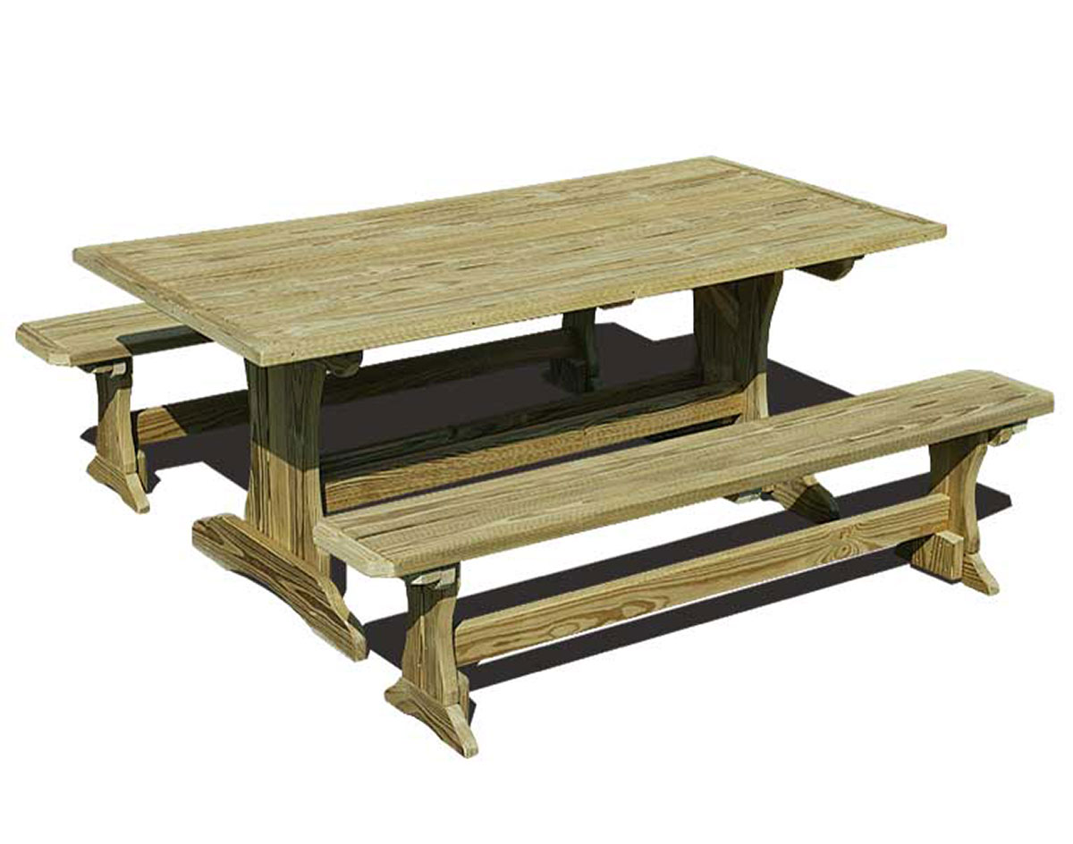 treated pine trestle picnic table rh fifthroom com Untreated Pine Outdoor Furniture Untreated Pine Outdoor Furniture