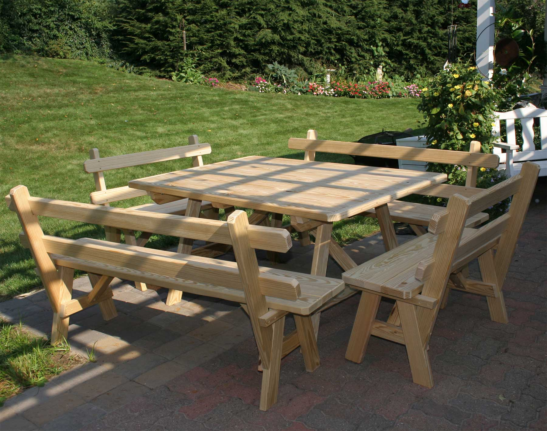 Treated Pine Wide Picnic Table W 4 Backed Benches